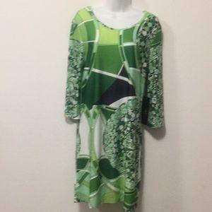 Green Bell Sleeve Dress-Size L